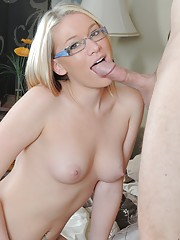 Glasses-wearing blonde gets destroyed by her well-endowed friend