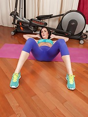 Yoga pants brunette fingering herself instead of working out